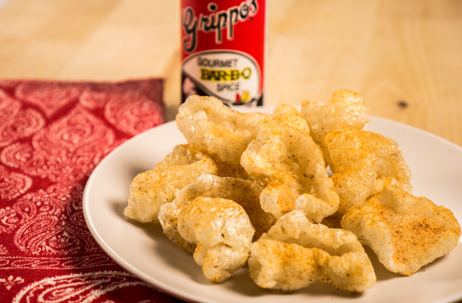 chicharrones seasoned on a plate