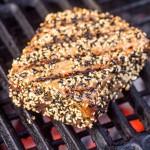 tuna steak on the grill close up
