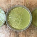 Creamy Texas Green Salsa in plastic containers.